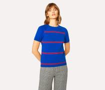 Indigo Stripe Cotton Short-Sleeve Sweater