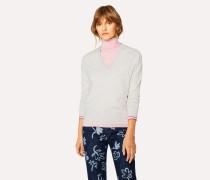 Ecru V-Neck Wool Sweater
