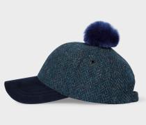 Navy Herringbone Wool Pom-Pom Cap