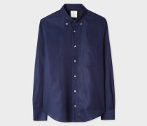 Tailored-Fit Dark Navy Textured Cotton Shirt With Charm Button