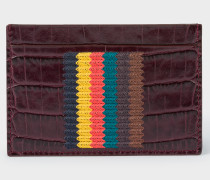 Burgundy Mock-Croc Leather Card Holder With 'Bright Stripe' Embroidery
