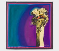 Purple 'Safari Animals' Print Silk Pocket Square