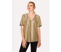 Gold Foil Textured V-Neck T-Shirt