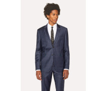 Slim-Fit Navy Check Wool Blazer