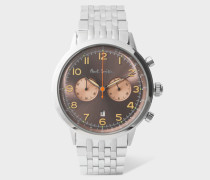 Light Brown And Stainless Steel 'Precision' Chronograph Watch