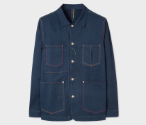 Navy Denim Stretch-Cotton Chore Jacket With Multi-Colour Stitching