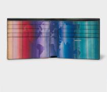 Black Leather 'Rainbow Map' Print Interior Billfold Wallet