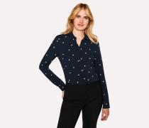 Slim-Fit Navy Polka Dot Shirt