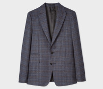Tailored-Fit Blue Plaid Wool Blazer