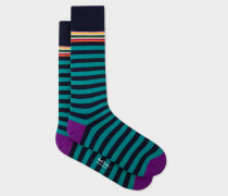 Navy And Teal Stripe Socks
