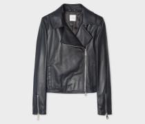 Dark Navy Two-Way Zip Leather Biker Jacket