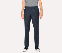 Mid-Fit Navy Checkerboard-Cross Jacquard Trousers