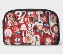 & Manchester United - 'Vintage Rosette' Print Canvas Wash Bag