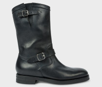 Black 'Marston' Mid-Calf Leather Boots