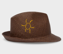 Brown 'Smile' And 'Sun' Embroidered Panama Straw Hat