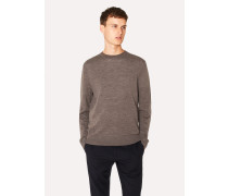 Dark Taupe Crew-Neck Merino Wool Sweater
