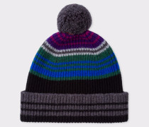 Black Ribbed Lambswool Beanie Hat With Stripes