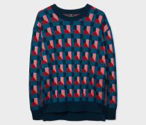 Geometric-Jacquard Knitted Sweater