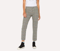Slim-Fit Black And White Check Cotton Trousers