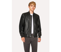 Black Leather Bomber Jacket With Suede Panels