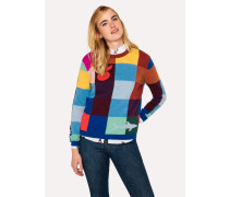 Color-Block Check Wool-Blend Sweater