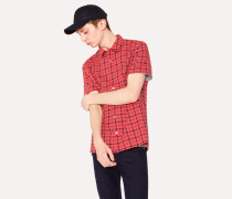 Classic-Fit Red And Navy Check Cotton Short-Sleeve Shirt