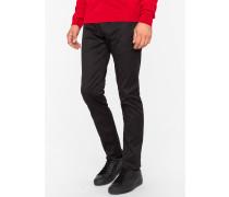 Slim-Fit Black Stretch-Cotton Twill Trousers