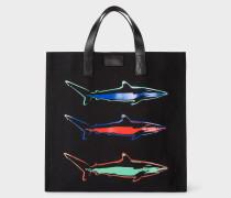 'Artful Lives Shark' Black Canvas Tote Bag