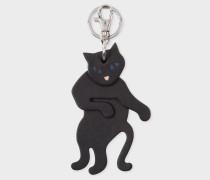 Black Leather 'Cat' Keyring
