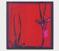 Dark Red 'Safari Animals' Print Silk Pocket Square