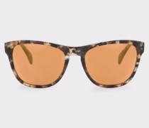 Brown Confetti And Peach Gold Mirror 'Hoban' Sunglasses