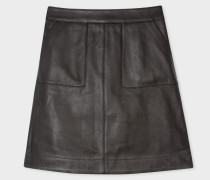 Black Leather Skirt With Front Pockets