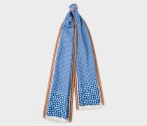 Blue Geometric Motif Silk-Blend Scarf