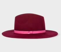 Burgundy Wool Fedora Hat With 'Swirl' Lining