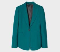 Slim-Fit Teal One-Button Wool Blazer