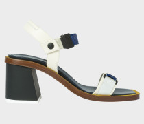 White Leather 'Yola' Sandals With Yellow Trim