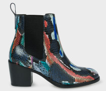 Multi-Colour Snake-Effect Leather 'Shelby' Boots