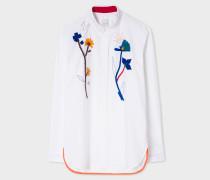 White Cotton Shirt With Ribbon Appliqué