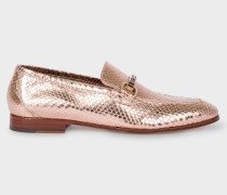 Metallic Gold Leather 'Grover' Loafers