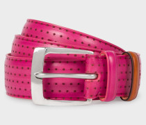 Pink Embossed Dot Burnished Leather Belt