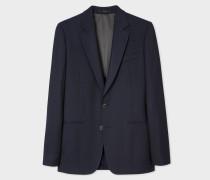 Tailored-Fit Navy Textured Wool Blazer