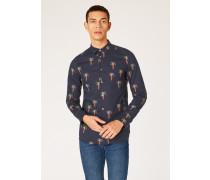 Slim-Fit Dark Navy 'Palm Tree' Print Stretch-Cotton Shirt