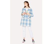 Blue And White Check Cotton-Blend Cocoon Coat