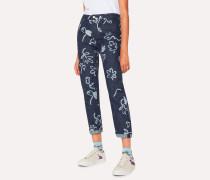 Indigo 'Acapulco' Print Girlfriend-Fit Denim Jeans