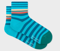 Turquoise And Blue Stripe Cycling Socks