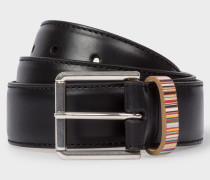 Black Leather Belt With 'Signature Stripe' Keeper