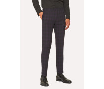 Slim-Fit Purple And Black Jacquard Check Trousers