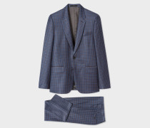 The Soho - Tailored-Fit Blue Three-Colour Plaid Wool Suit