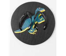 Black 'Dino' Print Flip Flops