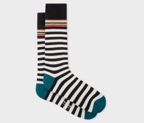 Cream And Black Stripe Socks
